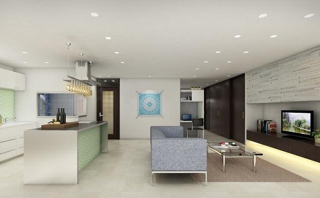 インテリアとなるキッチン:大阪のマンションリフォーム・リノベーションの設計