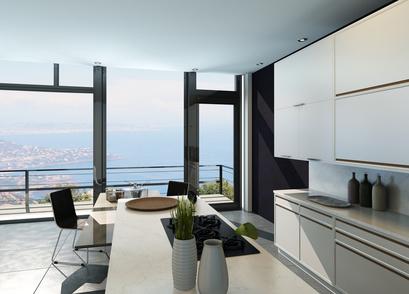 眺望を楽しむキッチン:大阪のマンションリフォーム・リノベーションの設計